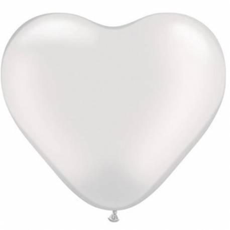 Srce baloni 15 cm, pearl beli 10/1