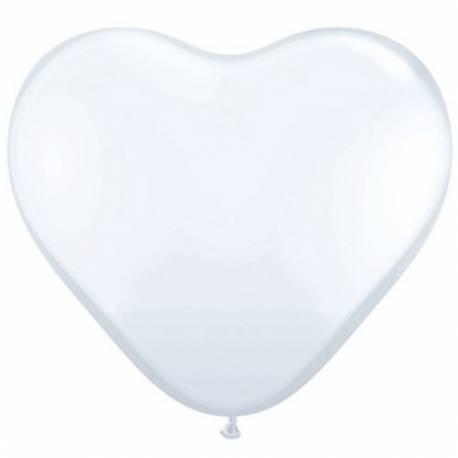 Srce baloni 15 cm, beli 10/1