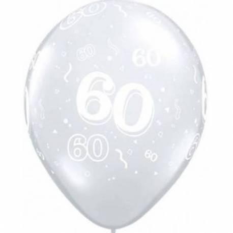 Diamond Clear baloni za 60 rojstni dan, 10/1