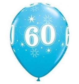 Sparkle Blue baloni za 60 rojstni dan, 25/1