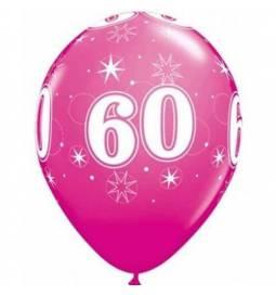 Sparkle Magenta baloni za 60 rojstni dan, 25/1
