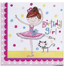 Serviete 33x33 cm, Birthday Girl Ballerina