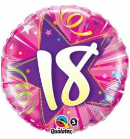 Folija balon za 18 let, Hot Pink