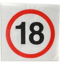 Serviete 33x33 cm, 18. rojstni dan, Stop znak