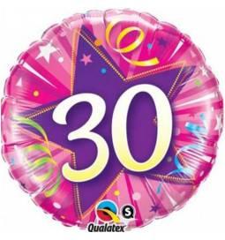 Folija balon za 30 let, Pink zvezda