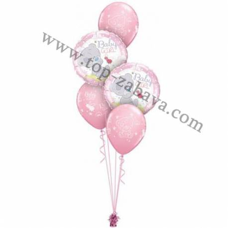 Dekoracija iz balonov Pink medvedek