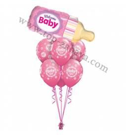 Dekoracija iz balonov Pink steklenička