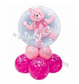 Dekoracija iz balonov Baby Girl Bear