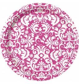 Krožniki 18 cm, Ornament elegant pink