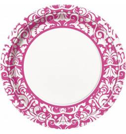 Krožniki 23 cm, Ornament Damask Pink 8/1