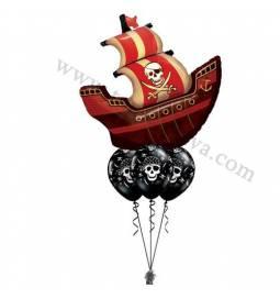 Dekoracija iz balonov Gusarska ladja