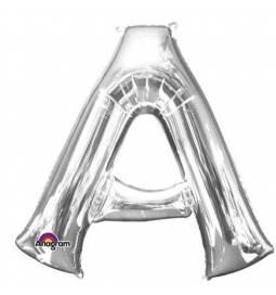 XXL balon črka A, srebrna 86 cm