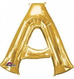 XXL balon črka A, zlata 86 cm