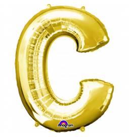 XXL balon črka C, zlata 86 cm