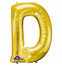 XXL balon črka D, zlata 86 cm