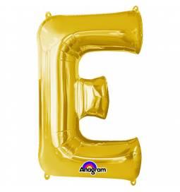XXL balon črka E, zlata 86 cm
