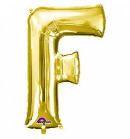 XXL balon črka F, zlata 86 cm