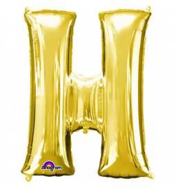 XXL balon črka H, zlata 86 cm