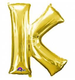 XXL balon črka K, zlata 86 cm