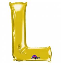 XXL balon črka L, zlata 86 cm