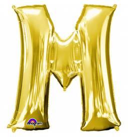 XXL balon črka M, zlata 86 cm