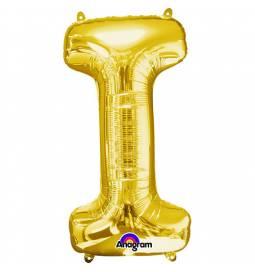 XXL balon črka I, zlata 86 cm