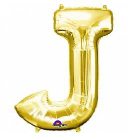 XXL balon črka J, zlata 86 cm