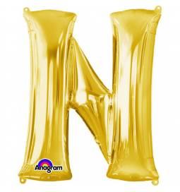 XXL balon črka N, zlata 86 cm