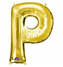 XXL balon črka P, zlata 86 cm