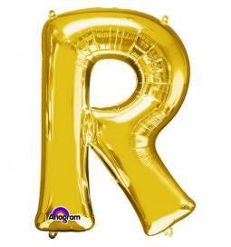 XXL balon črka R, zlata 86 cm