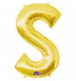 XXL balon črka S, zlata 86 cm