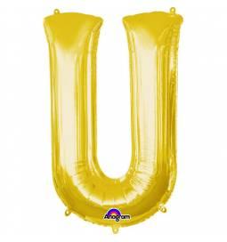 XXL balon črka U, zlata 86 cm