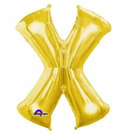 XXL balon črka X, zlata 86 cm