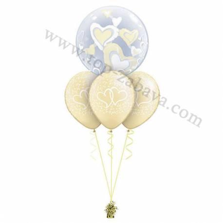Poročna balonska dekoracija Dva srca, zlata