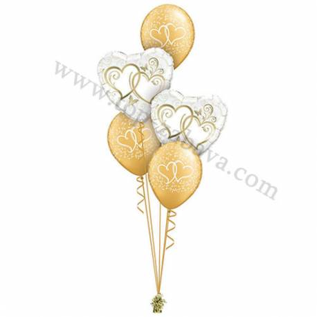 Poročna balonska dekoracija Dva srca 1, zlata