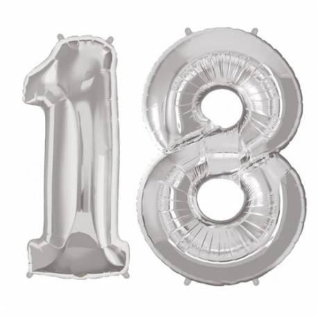 XXL balona številka 18, srebrna