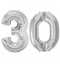 XXL balona številka 30, srebrna