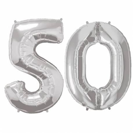 XXL balona številka 50, srebrna