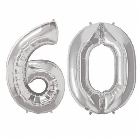 XXL balona številka 60, srebrna