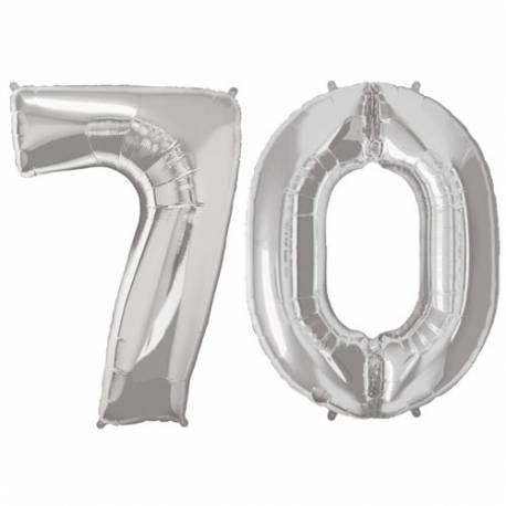 XXL balona številka 70, srebrna