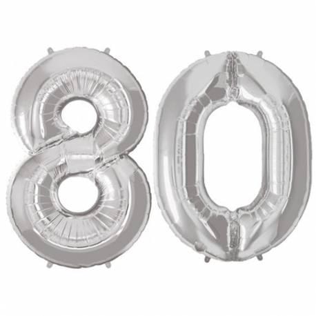 XXL balona številka 80, srebrna