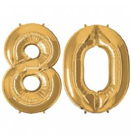 XXL balona številka 80, zlata