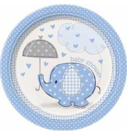 Krožniki za Baby Shower, Moder slonček 18 cm