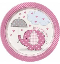 Krožniki za Baby Shower, Pink slonček