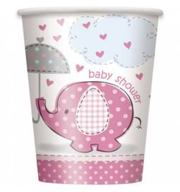 Kozarčki za Baby Shower, pink slonček