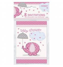 Vabila za Baby Shower, Pink slonček