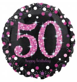 Folija balon 50 let, Happy Birthday Pink