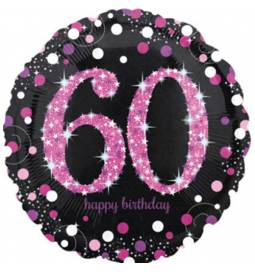 Folija balon 60 let, Happy Birthday Pink