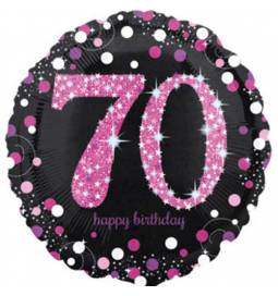 Folija balon 70 let, Happy Birthday Pink