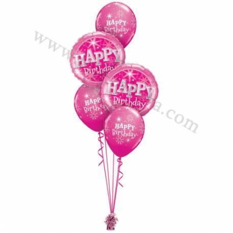 Dekoracija iz balonov Happy Birthday pisana